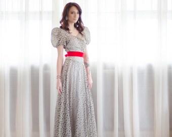 30s Lace Dress - Vintage 1930s Sheer Dress - Loop de Loop Dress