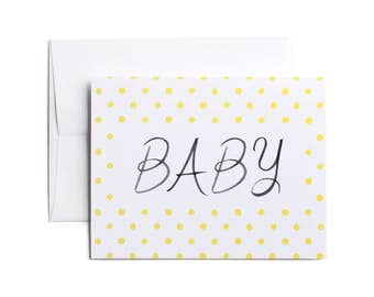 New Baby Card, Baby Card, Baby Congratulations Card, Boy or Girl Baby Card, Gender Neutral - Yellow Dots