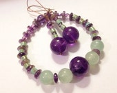 Kiwi and Grape Bracelet with Gift Earrings, Handmade Etsy Jewelry, Unique Gifts for Her, Birthday, Anniversary, Agate, Amethyst, Size 7.5