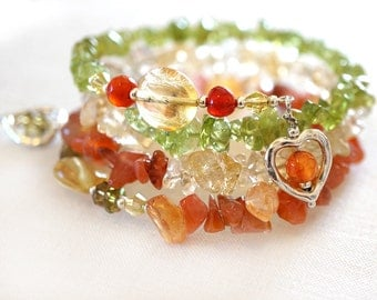 Summer Outdoors Citrine Bracelet Carnelian Bracelet Peridot Green Orange Yellow Gemstone Sterling Silver Wrap Bracelet Heart Charms
