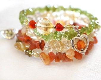 Leo Zodiac Astrology Citrine Bracelet Carnelian Bracelet Peridot Green Orange Yellow Gemstone Sterling Silver Wrap Bracelet Heart Charms