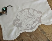 Vintage Linen Embroidered Drawn work Tea Towel With a Cherub on a Chariot pulled by Butterflies
