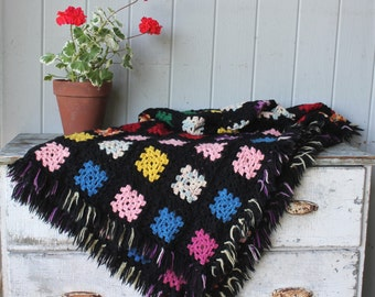 Soft and Cozy Vintage Crocheted Wool Afghan Blanket Throw