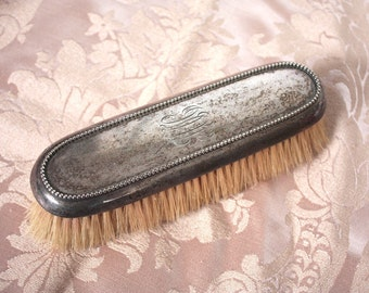 Antique Sterling Silver Grooming Brush // Early 20th C. Monogrammed Birks Sterling Large Horsehair Brush // Edwardian Brush