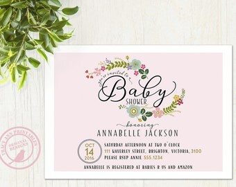 Pink Baby Shower Invitation | Blush Floral Baby Shower invite | Pastel Floral Baby Shower | Printable invitation 1512a