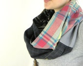 PLAID INFINITY SCARF - Circle Scarf - Loop Scarf - Eternity Scarf - Pink Infinity Scarf - Chunky Scarf - Circular Scarf - Hipster Scarf