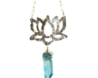 Lotus flower necklace, lotus and blue crystal point pendant