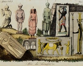 1823 Antique print of Egyptian priests, Egytian culture, fine hand colored engraving 193 years old