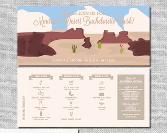 Arizona Desert Bachelorette Invitation with Itinerary - Personalized Printable File or Print Package - #00133-PI10