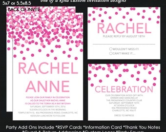 Pink Confetti Bat Mitzvah Invitation - Reply Card - Insert Card - Thank You Note Card - USE for ANY EVENT