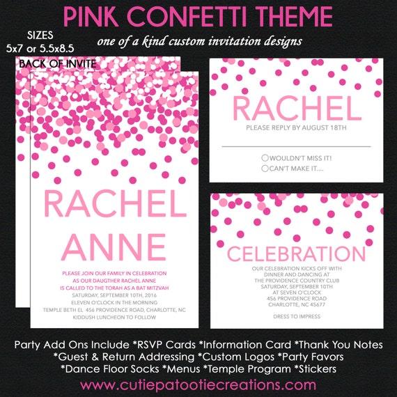 Pink Confetti Bat Mitzvah Invitation