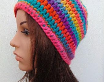 Funky Bright Rainbow Womens Hat Crochet Hat Hand Crocheted Hat Wool  Crochet Beanie Hat Handmade in Ireland