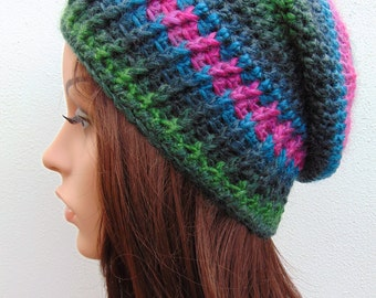 Striped Slouch Hat Womens Winter Hat Crochet Hat Wool Blend Crochet Hat Handmade in Ireland