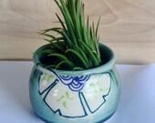 Mini Succulent Planter, Blue Green Floral Pattern