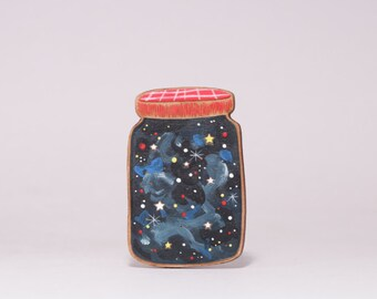 Galaxy jar- Jar of Stars hand painted wooden brooch