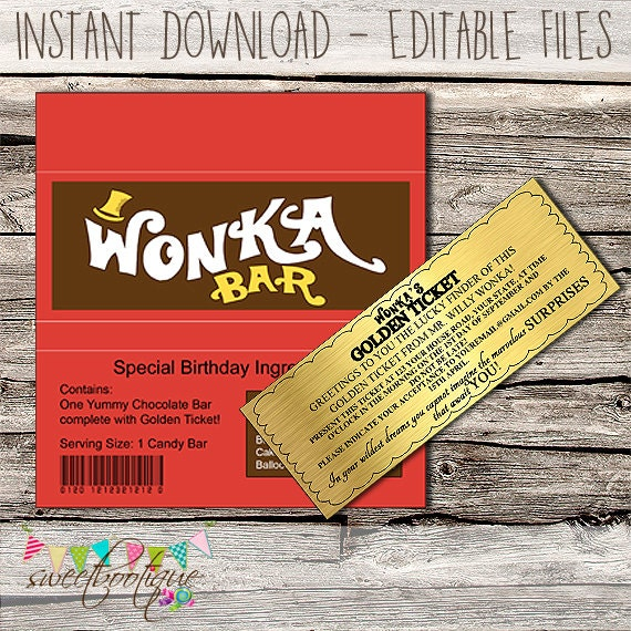 Willy Wonka Golden Ticket Invitation Chocolate Wrapper Editable
