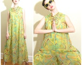Vintage 1960s Pucci Like Jumpsuit Playmaker Mannie Fineman / 60s Palazzo Pant Jumpsuit Lounger Green Yellow Print / Medium