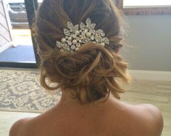 Bridal Swarovski Crystal Pearl Wedding Comb Wedding Hair Accessories Vintage Style Pearl Leaf Rhinestone Bridal Hair Comb Rhinestone CALI