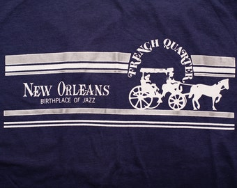 New Orleans French Quarter T-Shirt, Birthplace of Jazz, Vintage 80s-90s