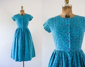 1980s Aquatic Vines floral sweetheart dress / 80s does 50s