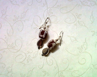 Brown and White Ethnic Earrings (1734)
