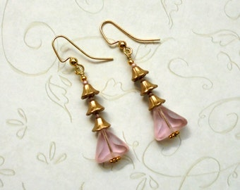 Pink and Gold Earrings (2534)