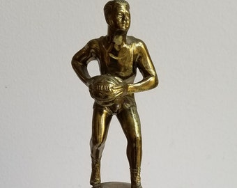Vintage Basketball Trophy 1949-50 Brass Celluloid Plastic, Man Statue Male Athlete Sports Team Player