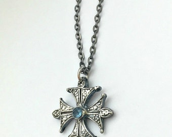 Silver Cross Necklace with Blue Topaz Gemstone - Metal Clay Jewelry - Ethiopian Coptic Pendant