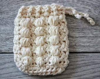 100% Organic Cotton Pampering Massage Soap Saver -  Crochet Soap Saver - Cotton Soap Bag - Crochet Soap Holder with a bumpy side