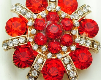 Red Floral Rhinestone Ring/Statement Ring/Gift For Her/Holiday Ring/Under 20 USD/Adjustable