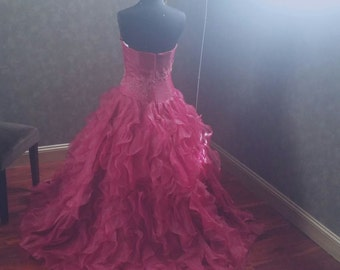 Dark Red Wedding Dress with Organza Ruffles and Beaded Lace Applique Ready to Ship