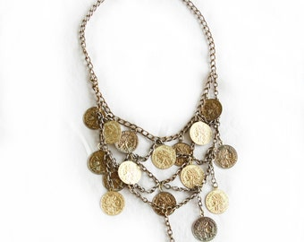 Million Dollar Baby, French Vintage Coin Charm Statement 1970s Necklace