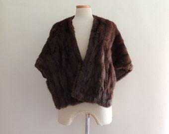 1950's Mink Stole Mahogany Brown Vintage Fur Stole Cape // Vintage Fur Cape Winter Wedding