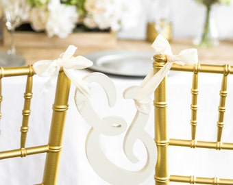 Wedding Chair Sign for Sweetheart Table - Wooden Ampersand Sign for Tying Chairs Together or Engagement Wedding Photo Prop (Item - AMP101)