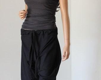 Black Drop Crotch Pants Yoga Track Suit Grey Gray - Chrisst