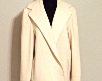 SALE vintage ivory wool coat - 1960s swingy wool blazer coat