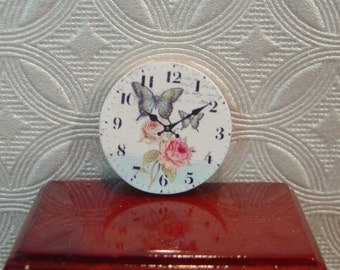 Miniature Dollhouse Butterfly Shabby Chic Clock One Inch Scale 1:12