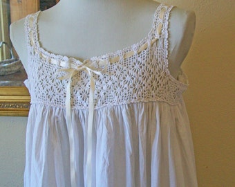 Antique Linen & Vintage Lace White Nightgown - Medium Large Hand-made - Upcycled - Bridal - Romantic Wedding Dress