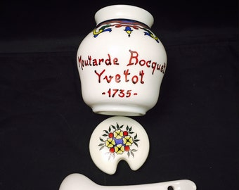 Mustard Jar,  Pot,  Crock, Moutarde Bocquet Yvetot 1735,  Milk Glass, French Country Design, Hand Painted, Lid And Spoon