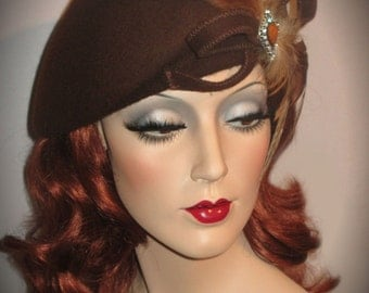 COUTURE AU CHOCOLAT- Chocolate Brown Wool Felt Hat, Asymmetric Beret Hat, 30s Inspired Tilt Beret, Wool Tam, Lady Amherst Pheasant Feathers