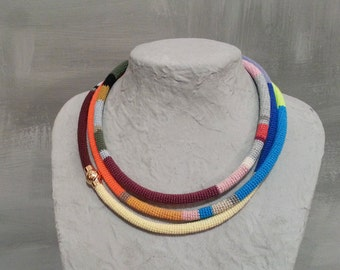 Multi Strand Necklace African Style, 3 Times Wrap Necklace, Multicolor Crochet Tube Carnival Season