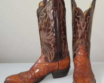 vintage cowboy boots 8.5 womens 10 crocodile exotic skins Justin