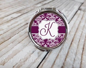 Choose Your Colors - Personalized Bridesmaid Compact Mirror - Bracket Damask in Eggplant & Silver