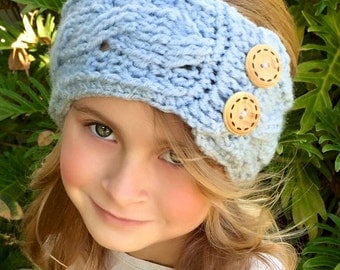 CROCHET PATTERN - Crochet Head Warmer - The Honore' Head Warmer - Cable Head Warmer Pattern - Child, and Adult sizes