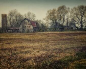 Abandoned Photography-Farm Photograph-Barn Print-Rural Photography-Dark Landscape-Rustic Wall Art-Farmhouse Art-Horizontal Print-Rural Art