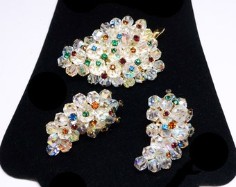 Laguna Crystal Brooch & Earrings Set - Cluster of Grapes Shape - Iridescent Crystal Magarite Beads - Mid Century 1950's Signed Laguna