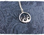 Silver Waves Necklace - Sterling Silver Waves Charm on a Delicate Sterling Silver Cable Chain or Charm Only