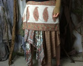 Paisley Pink Bustle Skirt / Upcycled Maxi Skirt