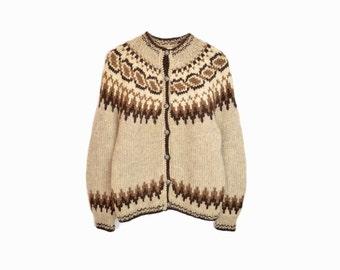 Vintage Fair Isle Sweater / Nordic Wool Cardigan in Brown & Tan