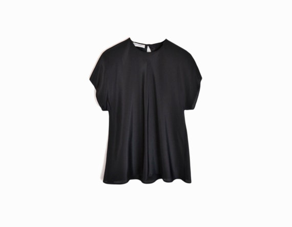 Vintage 70s Black Luster Keyhole Blouse / Minimalist Black Top / Short Sleeve Top - women's small